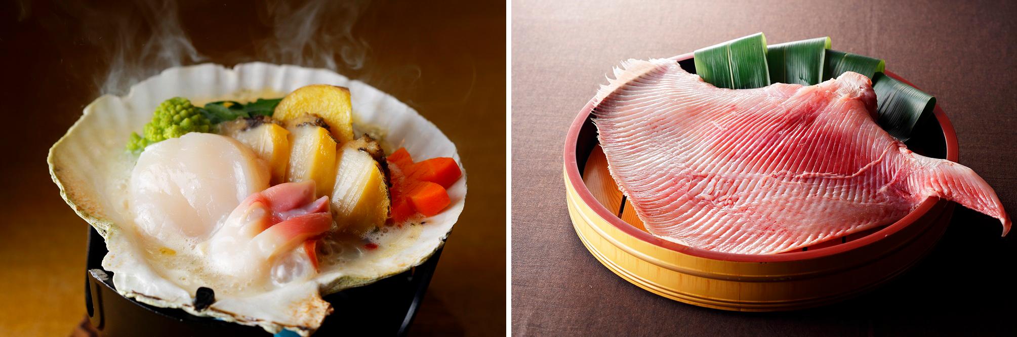 左:北海貝づくし焼き 右:生のかすべ