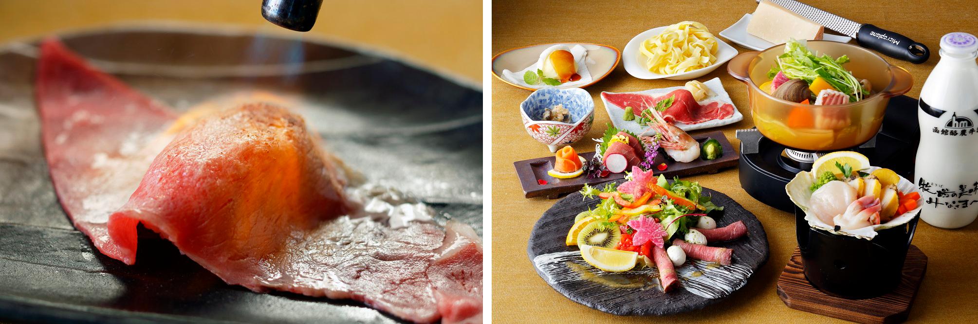 左:牛ロース肉の炙り寿司 右:「EZO 御膳~冬~」