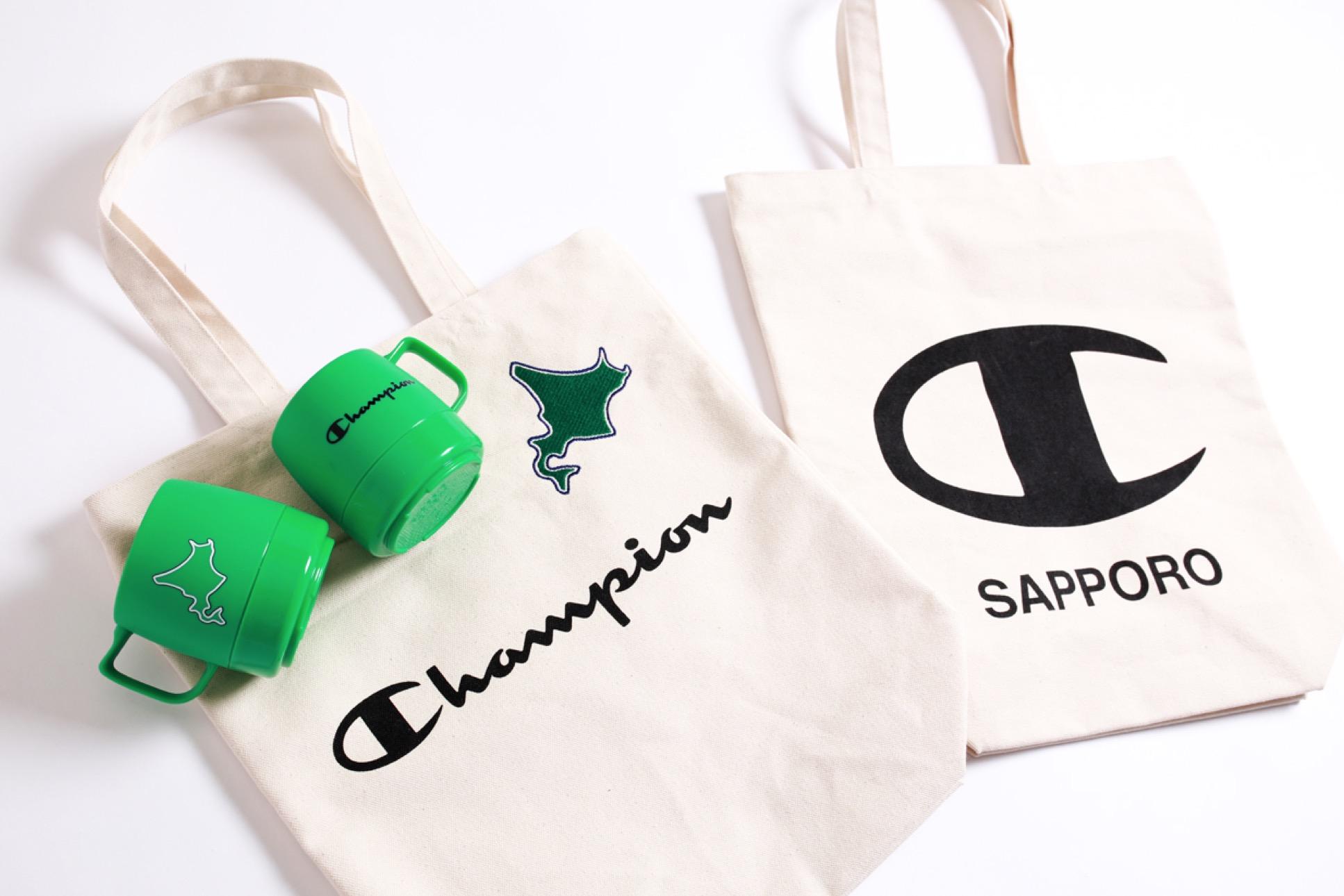 Champion 札幌ステラプレイス オープン記念限定ノベルティ プレゼント オリジナルトートバッグ、マグカップイメージ